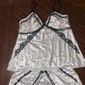 Black and white satin pajama set